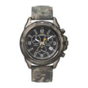 Timex® Expedition Rugged Mens Leather Strap Field Chronograph Watch