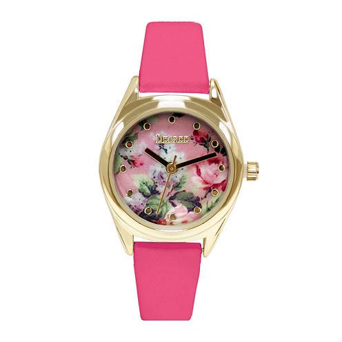 Decree® Womens Floral Print Dial Watch