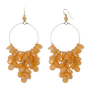 Decree® Gold-Tone Orange Drop Hoop Earrings