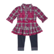 Little Lass 2-pc. 3/4-Sleeve Top and Leggings Set - Girls 2-6