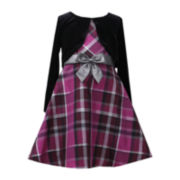 Bonnie Jean Taffeta Plaid Jacket - Girls Plus