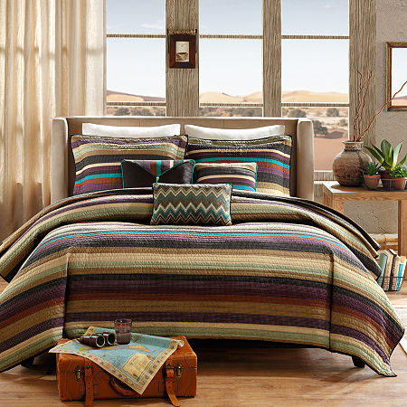 Madison Park Sequoia 6-pc. Striped Quilted Coverlet Set