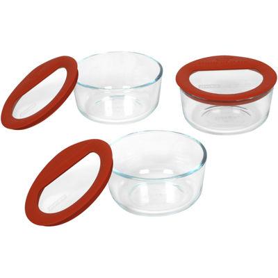 Pyrex 6 pc No Leak Glass Food Storage Set