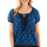 St. John's Bay® Short-Sleeve Lace Peasant Top - Petite