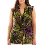 Worthington® Sleeveless Mesh Top - Plus