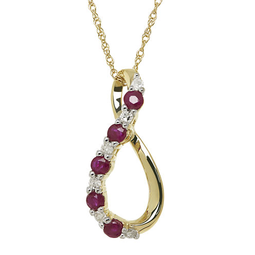 Lead Glass-Filled Ruby and Diamond-Accent Loop Pendant Necklace