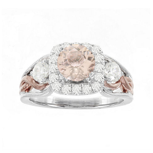 Blooming Bridal Genuine Morganite and Diamond 14K Rose Gold Ring