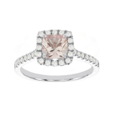 jcpenney.com | Blooming Bridal Genuine Cushion-Cut Morganite and Diamond 14K White Gold Ring