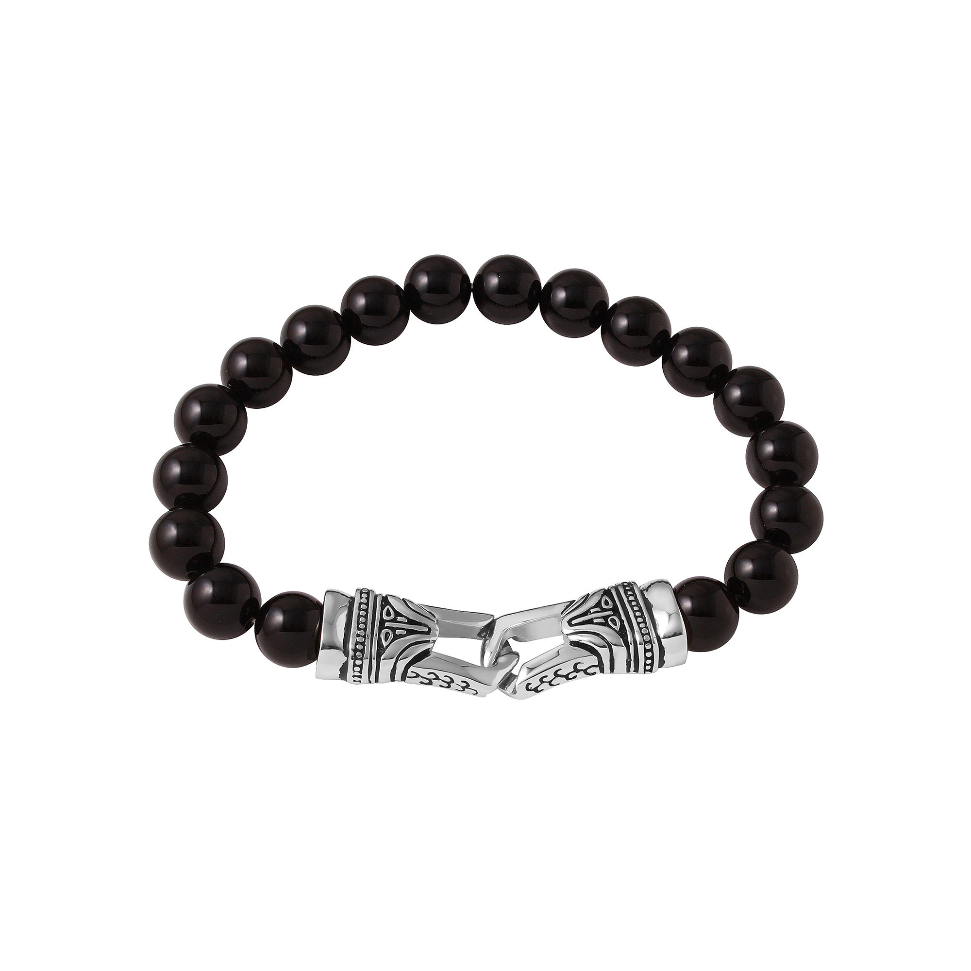 Mens Black Agate Bead and Stainless Steel Bracelet