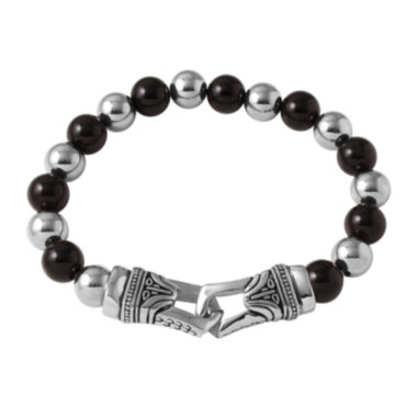 jcpenney.com | Mens Black Agate and Stainless Steel Bead Bracelet