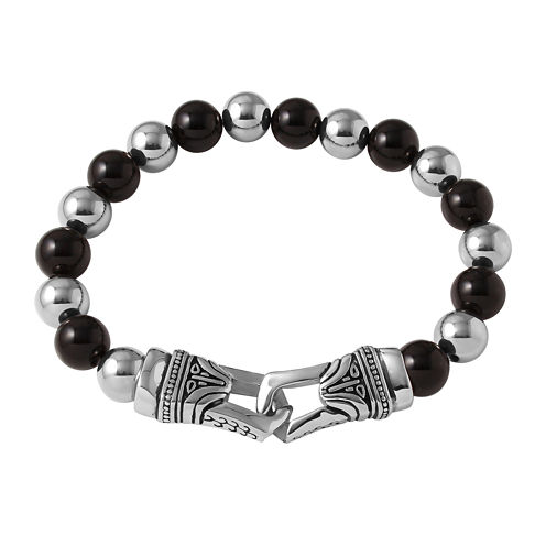 Mens Black Agate and Stainless Steel Bead Bracelet