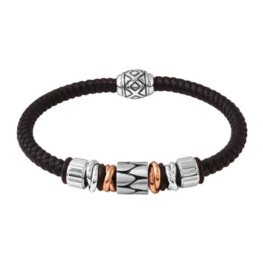 jcpenney.com | Mens Stainless Steel and Black Leather Bracelet