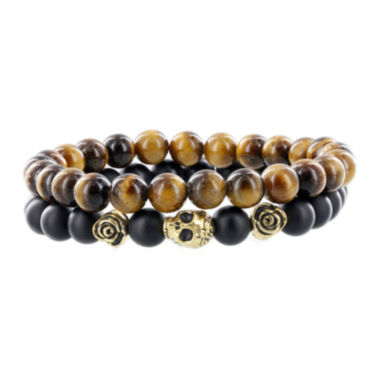 jcpenney.com | Dee Berkley Mens Tiger's Eye and Black Agate Bead Stretch Bracelets