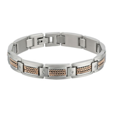 jcpenney.com | Mens Cubic Zirconia Stainless Steel and Rose Ion Plated Link Bracelet