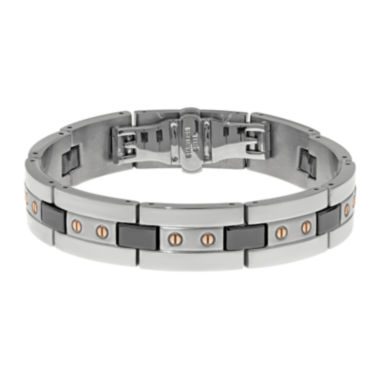 jcpenney.com | Mens Stainless Steel and Black Ceramic Bracelet