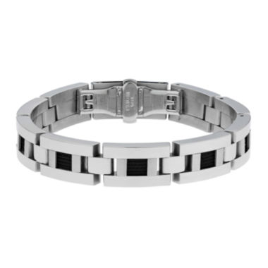 jcpenney.com | Mens Stainless Steel and Black Ion Link Bracelet