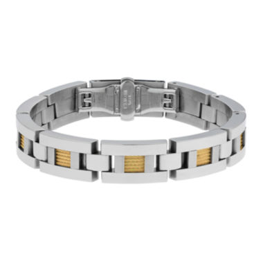 jcpenney.com | Mens Stainless Steel and Gold Ion Rope Inset Bracelet