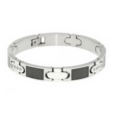 jcpenney.com | Mens 1/5 CT. T.W. Diamond Carbon Fiber Inlay Stainless Steel Bracelet