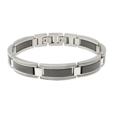 jcpenney.com | Mens Stainless Steel and Ceramic Link Bracelet