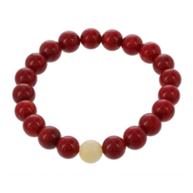 jcpenney.com | Dee Berkley Mens Genuine Dyed Coral and Dyed Jade Stretch Bracelet