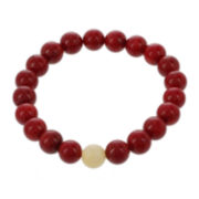 Dee Berkley Mens Genuine Dyed Coral and Dyed Jade Stretch Bracelet