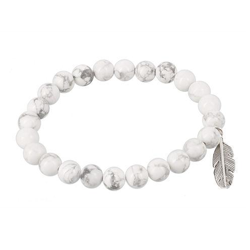 Dee Berkley Mens Genuine Howlite Bead Feather Stretch Bracelet