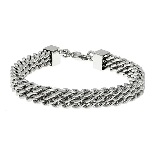 Mens Stainless Steel Multi-Row Chain Bracelet