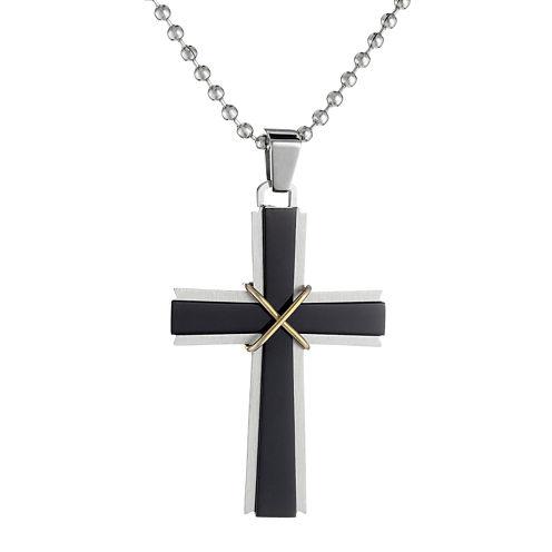 Mens Stainless Steel & Black IP Cross Pendant Necklace