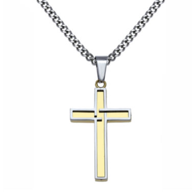 jcpenney.com | Mens Two-Tone Stainless Steel & Gold-Tone IP Cross Pendant Necklace