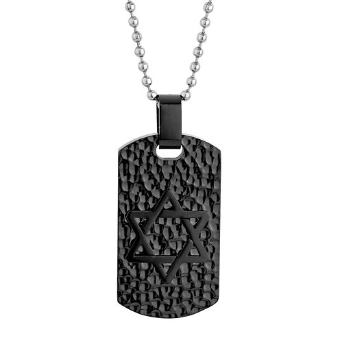 Mens Star of David Stainless Steel & Black IP Textured Dog Tag Pendant Necklace
