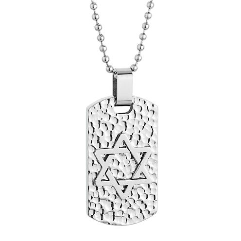 Mens Star of David Stainless Steel Textured Dog Tag Pendant Necklace