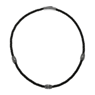 jcpenney.com | Mens Braided Black Leather Stainless Steel Necklace
