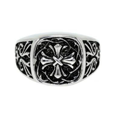 jcpenney.com | Mens Two-Tone Stainless Steel Cross Ring