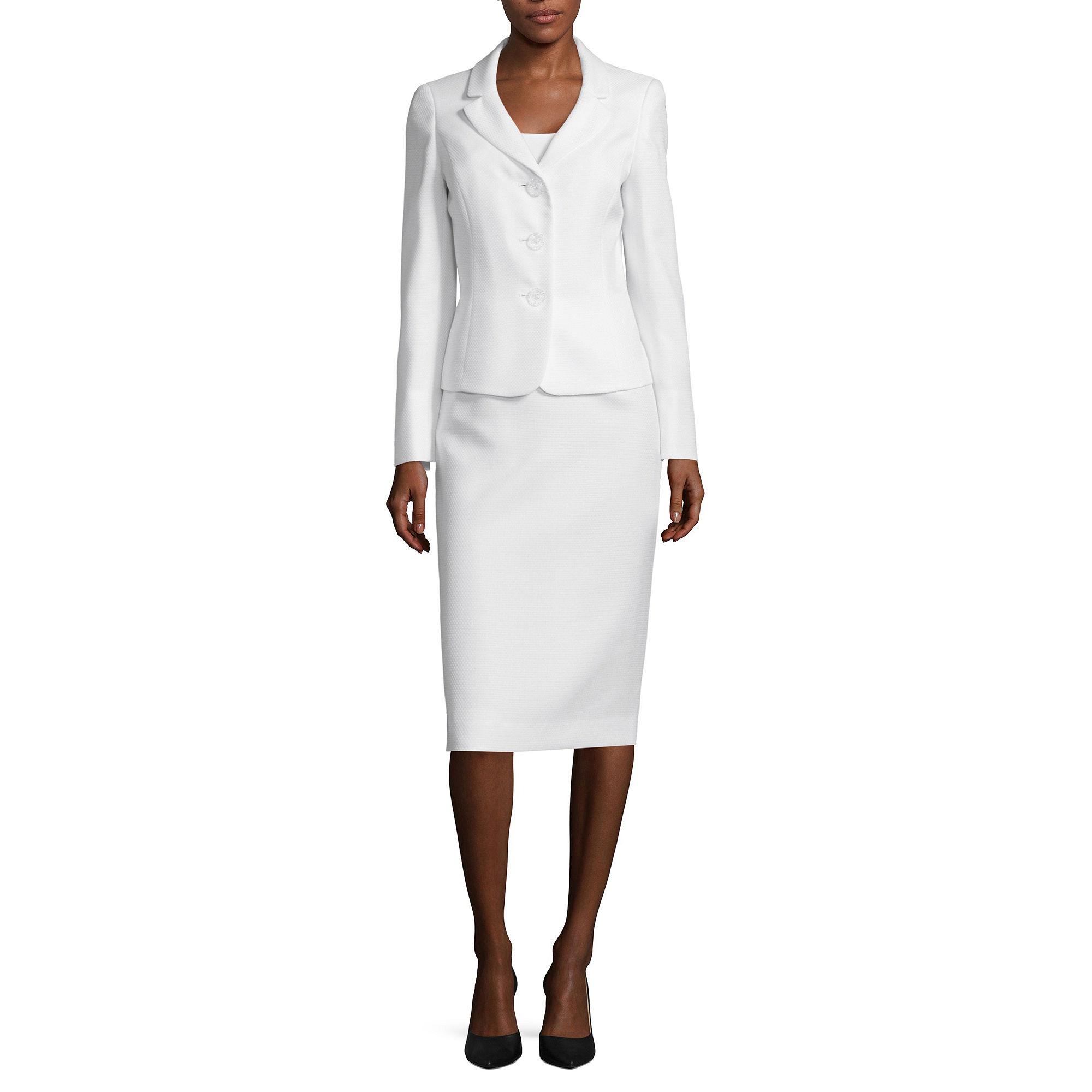 Le Suit Long-Sleeve 3-Button Jacket and Skirt Suit plus size,  plus size fashion plus size appare