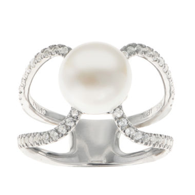 jcpenney.com | 9-9.5Mm Cultured Freshwater Button Pearl And Genuine White Topaz  Sterling Silver Ring