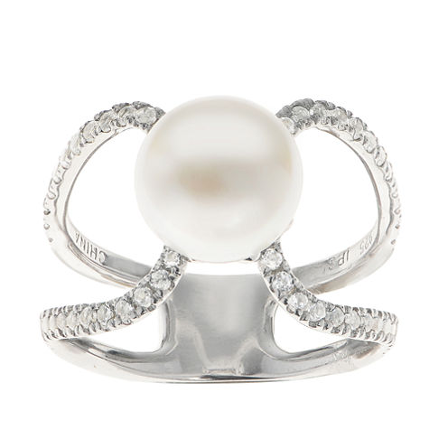 9-9.5Mm Cultured Freshwater Button Pearl And Genuine White Topaz  Sterling Silver Ring
