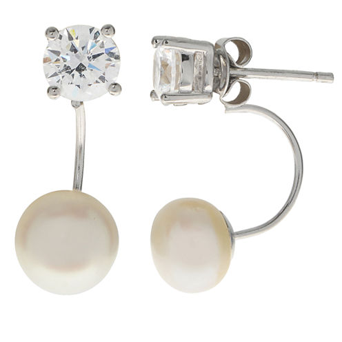 8-8.5Mm Cultured Freshwater Button Pearl And Cubic Zirconia Sterling Silver Front To Back Earrings