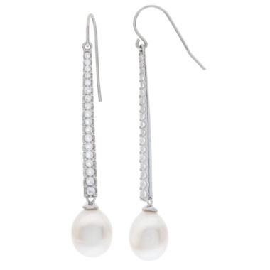 jcpenney.com | 9-10Mm Cultured Freshwater Pearl And Genuine White Topaz Sterling Silver Earrings