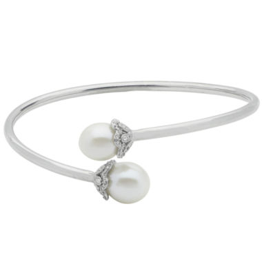 jcpenney.com | 10.5-11Mm Cultured Freshwater Pearl And Genuine White Topaz Sterling Silver Bangle Bracelet