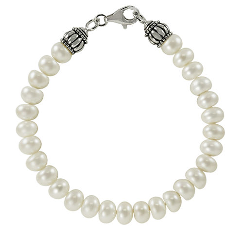 8-8.5Mm Cultured Freshwater Pearl Sterling Silver Bracelet
