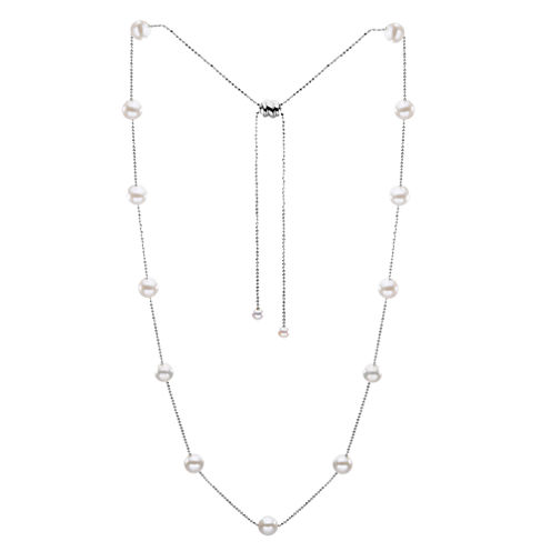"""36"""" Cultured Freshwater Pearl Sterling Silver Necklace"""