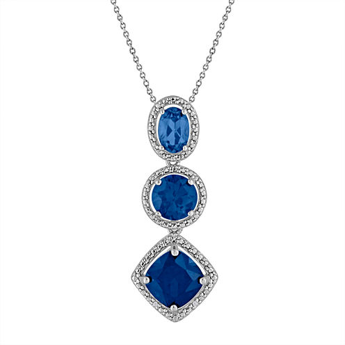 Lab Created Blue Sapphire & Diamond Accent Sterling Silver Pendant