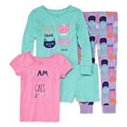 Okie Dokie® 4-pc. Yawn Cats Pajama Set - Preschool Girls 4-6x
