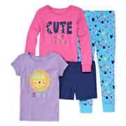 Okie Dokie® 4-pc. Cute When Sleep Pajama Set - Preschool Girls 4-6x