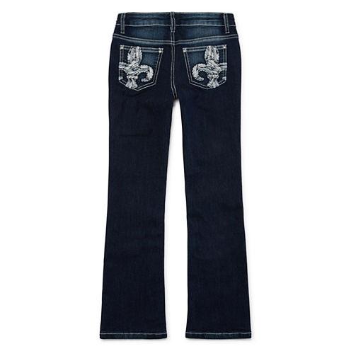Arizona Embellished-Back-Pocket Bootcut Jeans - Girls 7-16