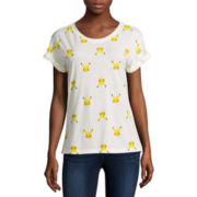 Short-Sleeve Roll Cuff Print Tee