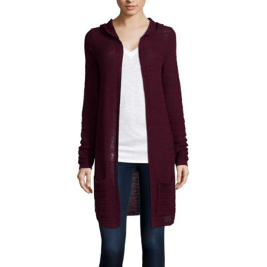 jcpenney.com | Arizona Long-Sleeve Hooded Marl Cardigan  - Juniors