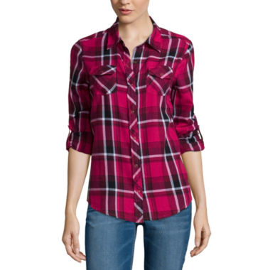 jcpenney.com | Arizona Long-Sleeve Classic Plaid Shirt- Juniors