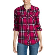 Arizona Long-Sleeve Classic Plaid Button-Front Shirt - Juniors