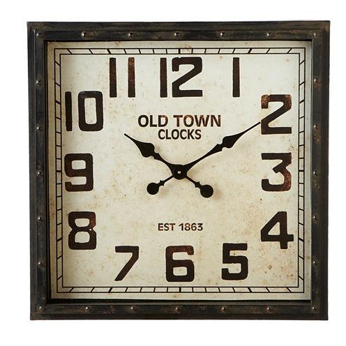 Distressed Black Square Wall Clock